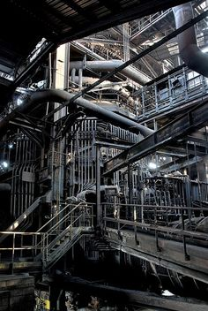 Untitled industrial interior, via Flickr.   Many a pipe.