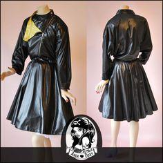 Vintage 1980s C&A New Romantic Black Rockabilly Military Swing Dress UK 14-16