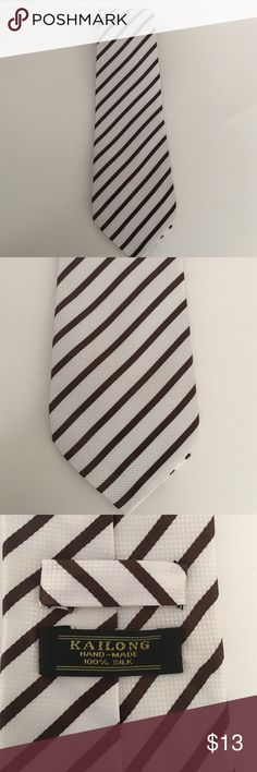 Men's 100% silk tie White/brown stripe Kailong Accessories Ties