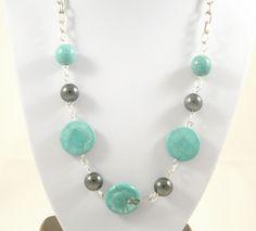 Collier turquoise, hématite, chaine mailles ovales en argent vieilli : Collier par long-nathalie