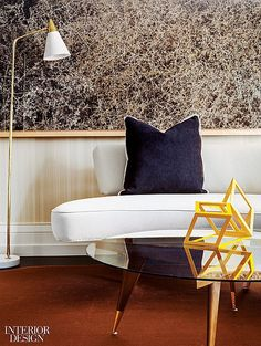 The living area's custom rug is braided copper wire in this upper east side pied-a-terre designed by Christopher Coleman. #Interiordesignmagazine #interiordesign #design #christophercoleman #nyc #uppereastside #apartment #city #piedaterre