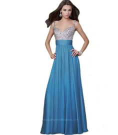 Elegant long blue prom dress 2015 by La Femme with empire waist, beaded silver bodice and v-neck (Order Here)