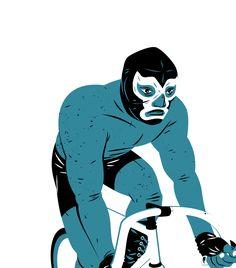 Illustration by Matt Taylor Illustration Sketches, Illustrations Posters, Bicycle Illustration, Blue Demon, Mexico Blue, Bicycle Art, Arte Pop, Print Artist, Character Design Inspiration