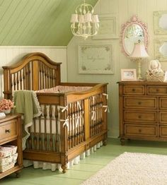 LOVE the look of this baby room, it's so tranquil and elegantly rustic! Keeping note for the someday :)