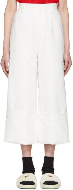 Shushu/Tong: White Wild Ham Trousers | SSENSE