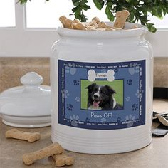 """Personalized Photo Dog Treat Jar - """"Throw Me A Bone"""" design from PersonalizationMall - it comes in 4 different color combos for you to pick from plus you can personalize it to say anything you want on the outside border AND above and below the photo! This is such a cute way to store their treats! #Dog #Cat #Treats #Pets"""