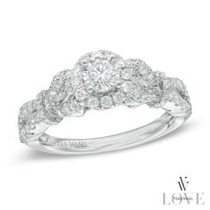 Vera Wang LOVE Collection 0.83 CT. T.W. Diamond Tie Sides Engagement Ring in 14K White Gold  - Peoples Jewellers