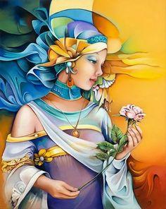 Brightness and vivid colors in paintings by Orestes Bouzon - Ego - AlterEgo Art And Illustration, Fantasy Kunst, Fantasy Art, Cuban Art, Fine Art, Silk Painting, Art Design, Beautiful Paintings, Female Art