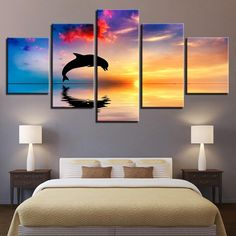 Dolphins Swim Jump with Sunset 5 Pieces Canvas Wall Art