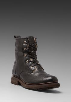 Frye Valerie Lace Up Shearling Lined Boot in Black
