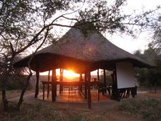 The lapa at Olifants Trails Camp with the rising sun. Kruger National Park, National Parks, Wilderness Trail, Stuff To Do, Things To Do, Backpacking Trails, Gazebo, Sunrise, Camping