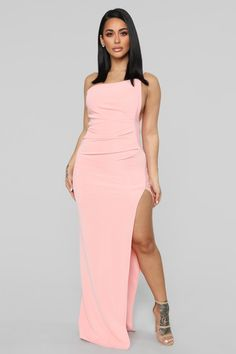 b3343ab3aad64d Not Going Home One Shoulder Dress - Pink