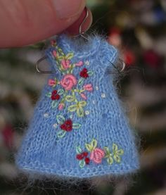 Tiny mohair knit and embroidered dress for Amelia Thimble dolls, Cindy Rice Designs