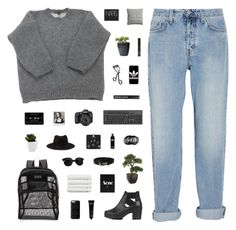 """""""We Can Be Heroes"""" by cbear99 ❤ liked on Polyvore featuring MiH Jeans, Louis Vuitton, Topshop, Surratt, JanSport, Eos, Marc by Marc Jacobs, Forever 21, Bobbi Brown Cosmetics and Linum Home Textiles"""