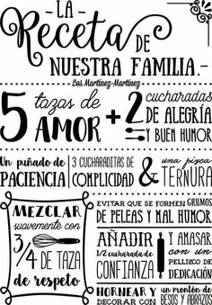 Una buena receta Kitchen Chalkboard, Staying Positive, Spanish Quotes, Peace And Love, Funny Quotes, Sweet Home, Letters, Thoughts, Sayings