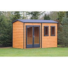 Shire 10 x 7 ft Double Glazed Timber Apex Garden Office Cabin Office, Shed Office, Office Pods, Garden Office, Gym Shed, Roof Boards, Apex Roof, Roof Shapes, Glass Roof