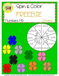 Numbers 1-10 St. Patrick's Day Clovers Spin and Color FREEBIE!!!  It's that time of year – St. Patrick's Day Clover Time! And here is a fun clover activity for your tykes to practice their numbers 1-10.  Use a pencil and paper clip to spin a number, then color that numbered clover. So easy!  *Answer key included!  This Spin and Color is included in my Numbers 1-10 Packet: 74 printables of number fun.