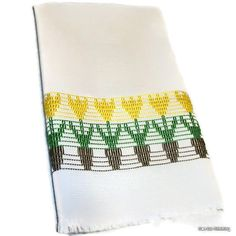 Kitchen Towel Swedish Weaving Huck Yellow Tulips by CanDoStitching, $13.75