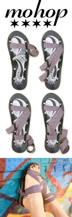 """Our Sole, Your Style! Mohop low wedge ribbon sandals are American made, vegan and come with 5 interchangeable ribbons! Plus Free Shipping and 7/8"""" purple and gold metallic ribbon! Double Bonus!"""