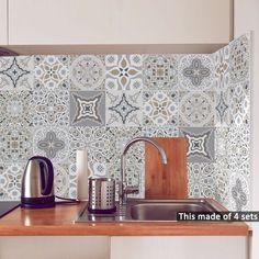 Buy Funlife Retro DIY PVC Waterproof Self adhesive Wall Decals Art Furniture Bathroom Kitchen Tile Sticker Moroccan Home Decor, Moroccan Furniture, Moroccan Design, Moroccan Tiles, Art Furniture, Bathroom Furniture, Bathroom Wall, Kitchen Furniture, Living Room Art