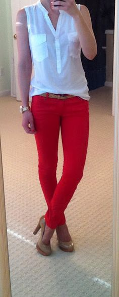 easy way to wear colored pants