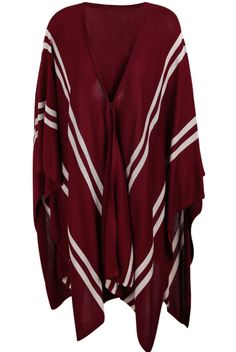 Oxblood V-neck Striped Irregular Hem Knitted Cape - Sheinside.com $30.00