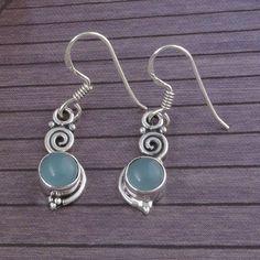 CHALCEDONY STONE 925 SOLID STERLING SILVER EARRING 3.18g JEWELLERY DJER1775 #Handmade #Earring