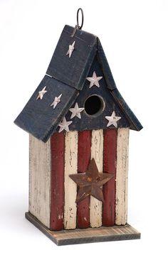 Americana Stars Wooden Birdhouse