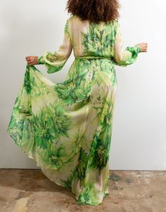Baacal Wrap Dress in Green Super Bloom Wedding Pantsuit, Every Step You Take, Green Wrap, Summer Prints, Maxi Wrap Dress, Chic Dress, Formal Gowns, Silk Chiffon, Classic Looks