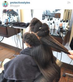 """Shrinkage is real!! Tightly coiled natural hair can often """"look"""" short but is quite long when stretched or straightened"""