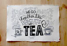 A4 Original Typography Art - We go together like Biscuits & Tea - Hand Lettering / Original Art / Vintage Retro Type / Chalkboard via Etsy
