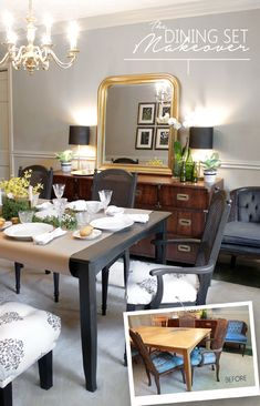 Dramatic Dining Room Makeover: From mismatched to marvelous in one easy trick!