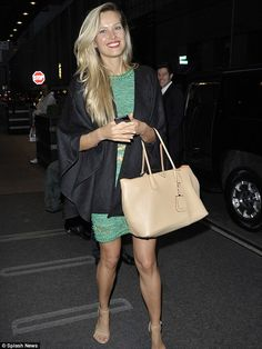 Blonde beauty: Petra had her long blonde hair down as she stepped out for the evening...