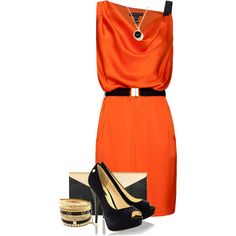 A fashion look from July 2013 featuring mini dress, black suede pumps and snake skin purse. Browse and shop related looks. Fashion Story, Fashion Outfits, Fashion Sets, Orange Dress, Orange Outfits, Night Outfits, Dressy Outfits, Professional Outfits, Dress To Impress