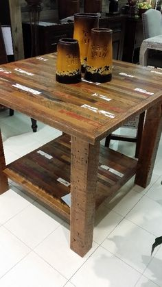 A Unique Look To This High Top Table, With Specially Crafted Patchwork Wood  For A