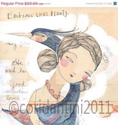 ON SALE whimsical watercolor painting of a girl and a by corid, $16.00