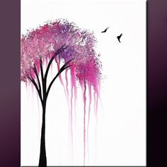 Abstract Tree Art Painting on Canvas 18x24  Original Modern Contemporary Art by Destiny Womack - dWo - When it Rains