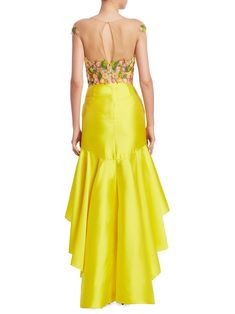 Marchesa Notte Green Embroidered Mikado High-low Dress In Yellow Elegant Dresses, Cute Dresses, Casual Dresses, Prom Dresses, Formal Dresses, Frock Fashion, Fashion Dresses, Party Frocks, Tango Dress