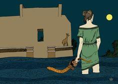 La Traversée, dite aussi, Biche à la Colonne du Septentrion, Damien MacDonald, Estampe Numérique