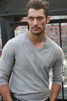 ♂ Man's casual fashion wear David Gandy in elegant grey