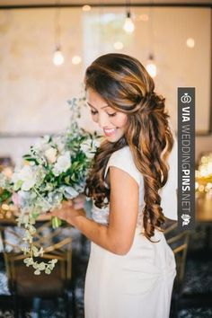 Trendy Wedding Hairstyles For Long Hair To The Side Curls It Works, - Wedding Hair Styles Curly Wedding Hair, Beach Wedding Hair, Elegant Wedding Hair, Bridal Hair, Trendy Wedding, Luxury Wedding, Hair Color 2018, Latest Hair Color, Hair 2018