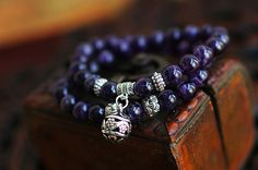 Amethyst bead stone mala necklace with Tibetan silver beads and flower/  handmade mala bracelet Tibet Nepal Check out this item in my Etsy shop https://www.etsy.com/listing/189053006/amethyst-bead-stone-mala-necklace-with