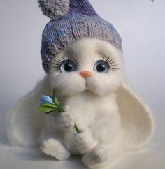 My fav bunny boy 😍😘😘 Baby Animals Super Cute, Cute Stuffed Animals, Cute Little Animals, Needle Felted Animals, Felt Animals, Funny Animals, Cute Fantasy Creatures, Cute Creatures, Baby Animals Pictures
