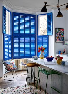Give your home an Ibiza vibe with vibrant blue custom coloured shutters and accessories featuring abstract splashes of colour. Offset these against gridlike industrial style furniture to create contrast and a sense of urban cool. Make a finishing statement to your kitchen, see how to get the look. Industrial Style Furniture, Blue Interiors, Ibiza Fashion, Contemporary Decor, Kitchen Styling, Shutters, Color Splash, Interior Inspiration, Contrast