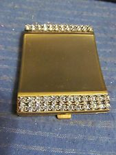 VTG Weisner Miami Paper Label Compact Clear Rhinestones Yellow/Goldtone NICE!