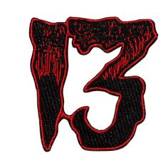 Unlucky 13 red & black patch by Kreepsville embroidered iron on patch Size approx 2 inches, 5 cm Pin And Patches, Iron On Patches, Happy Friday The 13th, 13 Tattoos, Game Room Design, In The Flesh, Diy Clothes, Embroidered Patch, Vest