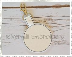 $2.95Blank Circle In The Hoop Snap Tab Key Fob Machine Embroidery Design