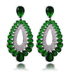 Color Stone Luxury Silver Pin Tear Drop Earrings AAA Cubic Zirconia Women Earrings Allergy Free Lead Free