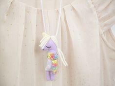 Purple Unicorn Kids Necklace Pocket Friend by supercursi on Etsy, €15.00