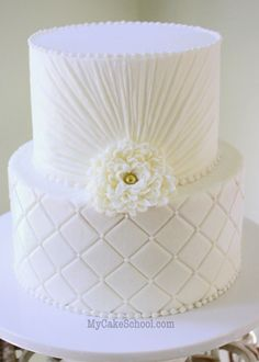 Quilted Buttercream Cake {with piped mum & ruching}- Video by MyCakeSchool.com! #weddingcakedesigns
